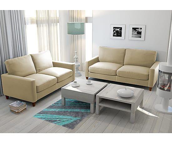 Sof de 2 plazas en madera y poli ster sweed beige ancho 80 cm alto 88 cm largo 145 cm - Sofa 2 plazas pequeno ...