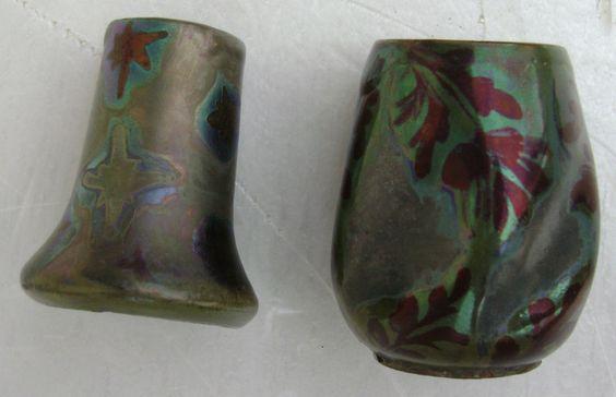 Dominique ZUMBO: lot de 2 mini-vases irisés signés et situés à Fréjus.