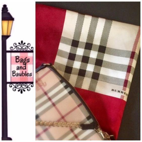 "Listing: BURBERRY London Nova Check Silk Scarf Excellent Pre-Loved Condition: BURBERRY London Nova Check Silk Scarf. Iconic plaid print with contrasting 3.5"" 2 toned red border. Made in Italy, 100% silk. Measures 18"" H x 18""W. No pulls or stains. Always Authentic 