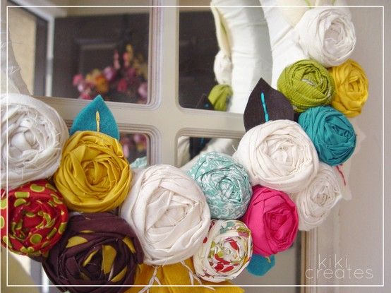 Lovely wreath yarn and flowers.