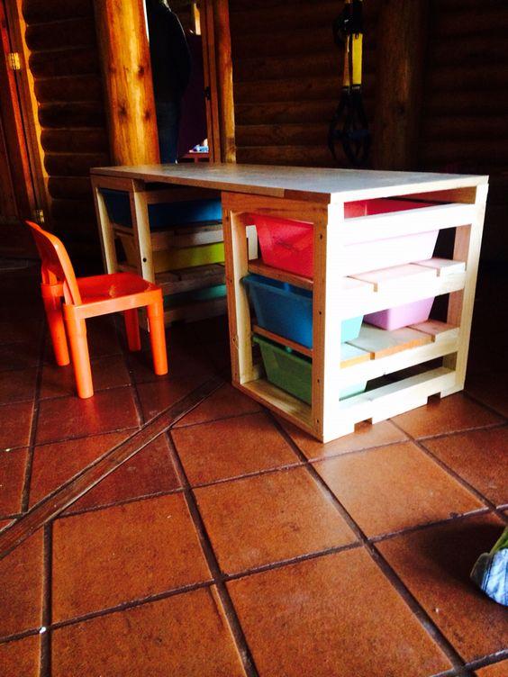 Escritorio y mesa de trabajo para ni os madera diy - Mesas escritorio ninos ...