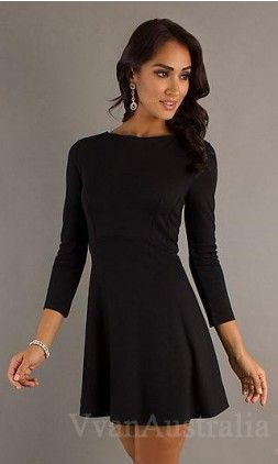love this black simple long sleeve short dress.  LBD obsession ...