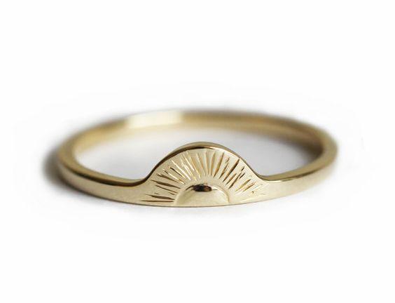 Sunrise Ring, Gold Sun Ring, Gold Boho Ring, Gold Bohemian Ring, 14k Solid Gold Band