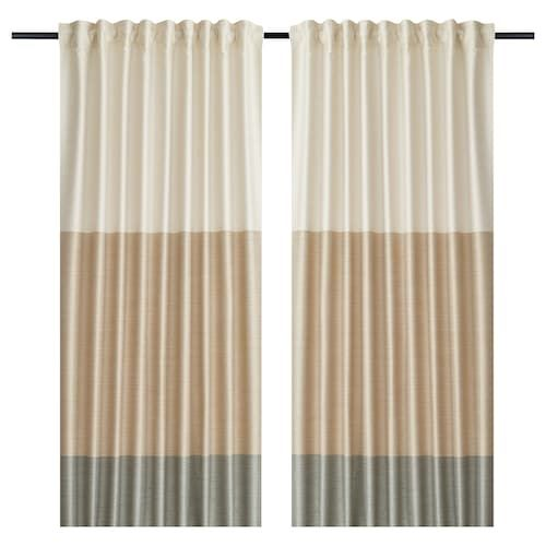Bergskrabba Curtains 1 Pair Blue Red Stripe 57x98 Curtains