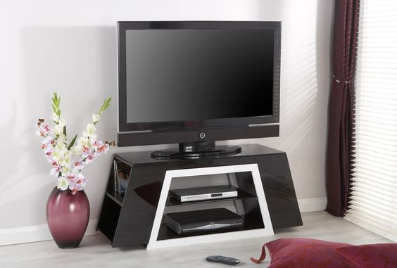 """Jual Furnishings JF021 TV Cabinet - High Gloss White - Up to 60"""" - Combining side storage shelves and a contemporary design, this modern stand is truly unique."""