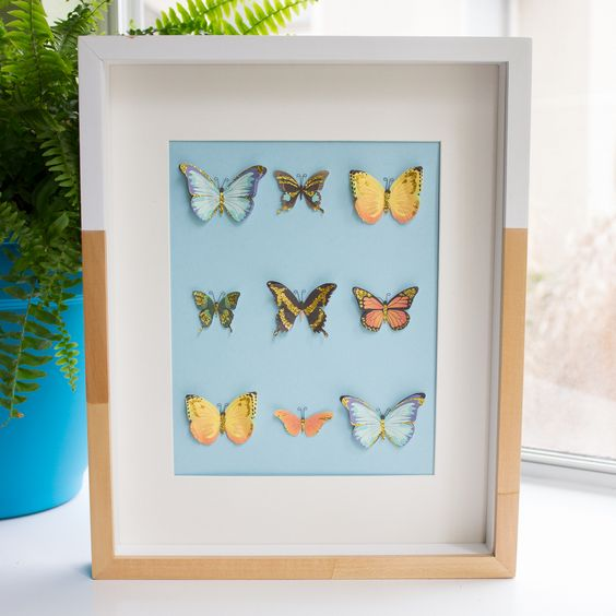 DIY your own butterfly shadow box art with 3-D butterfly stickers from #marthastewartcrafts and easy instructions from Design Improvised! #12monthsofmartha