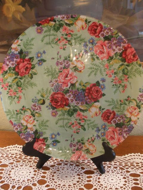 Clear glass plates with fabric modge podged on the back! I need to try this!: