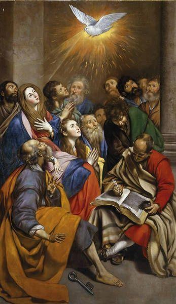 Pentecostés, de Juan Bautista Maíno. Pintado para el convento de San Pedro Mártir, en Toledo. Hoy día en el Museo del Prado.
