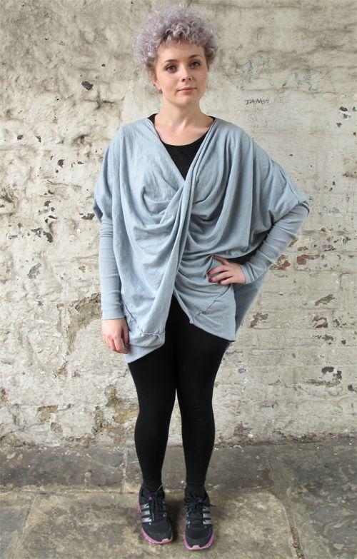 Lagenlook Twist Knot Oversized Batwing Top Grey