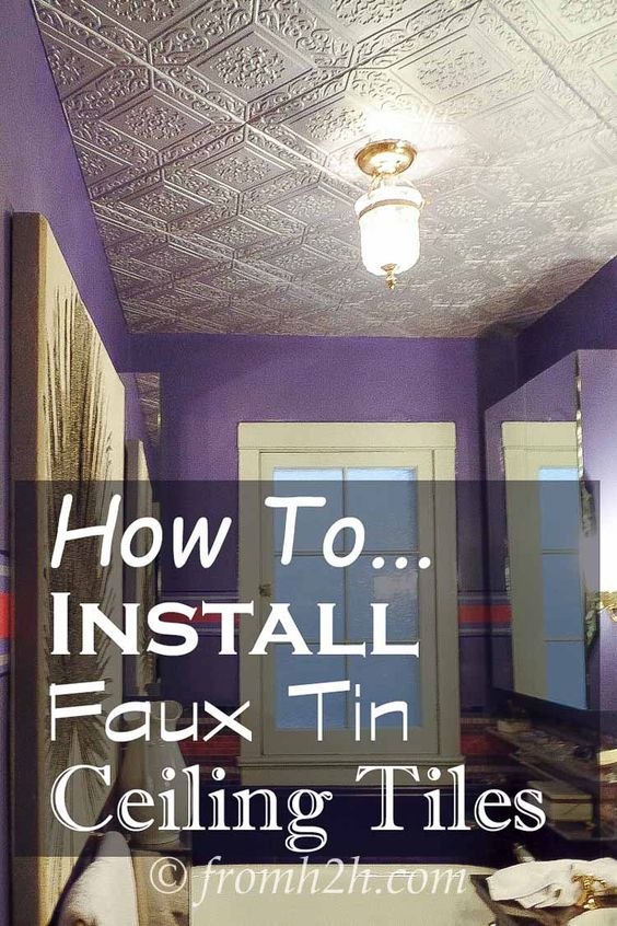 How To Install Faux Tin Ceiling Tiles | If you are looking for an easy way to add some interest to your ceiling, try installing Faux Tin Ceiling tiles.  They look great, can be painted any color you want, and can be glued on right over popcorn!