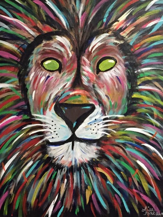 Acrylic painting on canvas by lisa fontaine lion for Abstract animal paintings