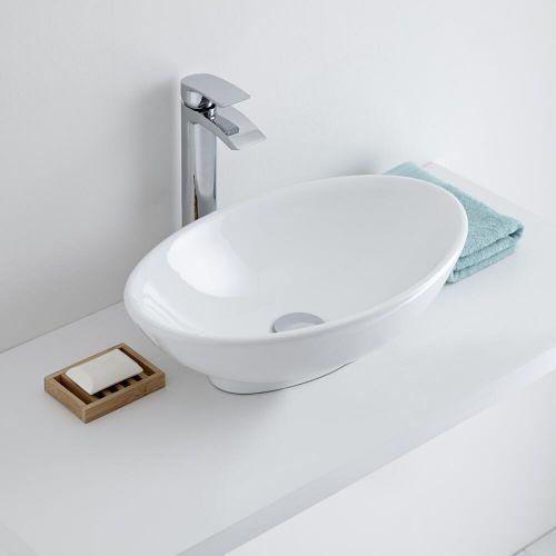 Milano Altham White Modern Oval Countertop Basin 520mm X 320mm