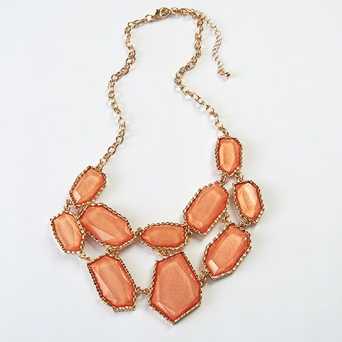 Ashley Cooper Peach Casted Statement Necklace. #spring #jewelry #fashion