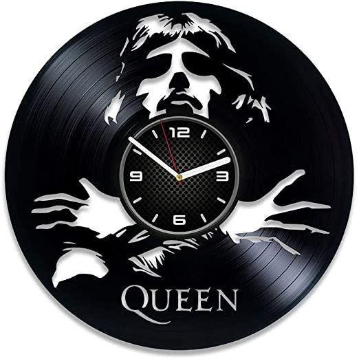 Kovides Queen Clock Freddie Mercury Vinyl Clock Queen Gift For Man Queen Vinyl Record Wall Clock Lp Clock Freddie Mercu In 2020 Large Wall Clock Wall Clock Record Wall