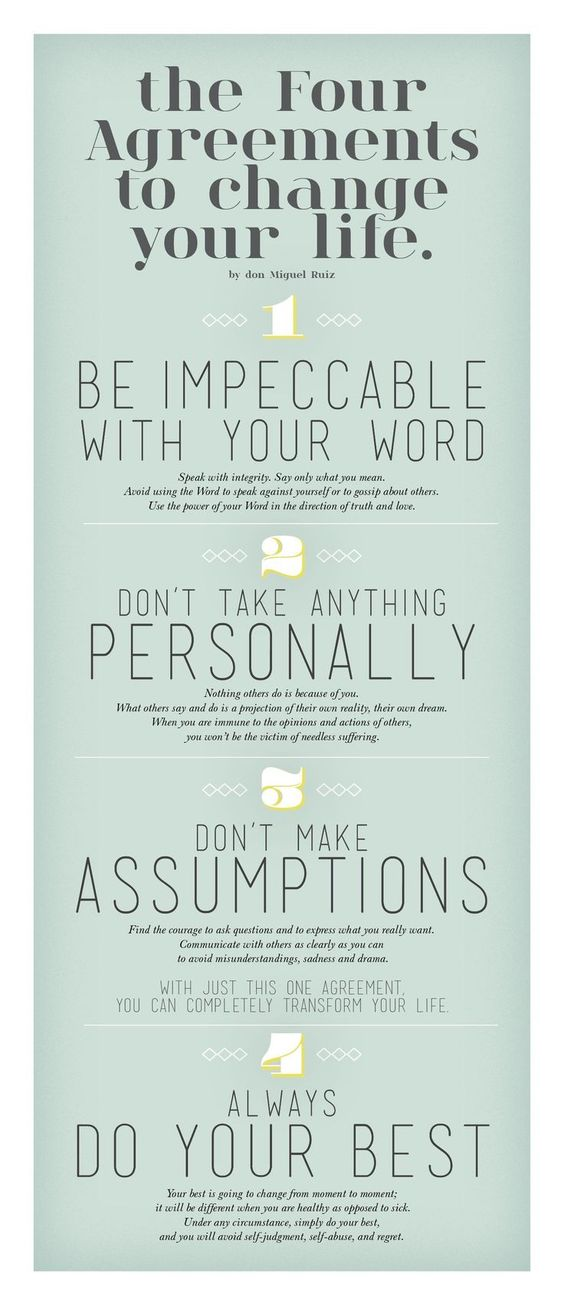 .The Four Agreements To Change Your Life - Rules to live by:
