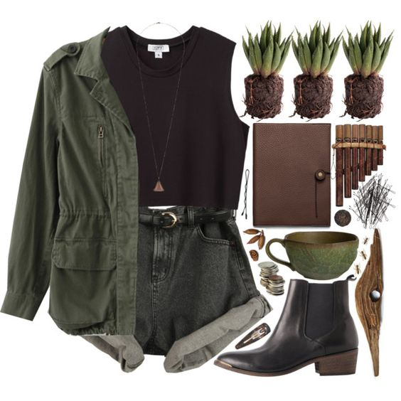 SUMMER • [olive jacket] plain tank [black denim shorts] long pendant [black hightop boots] • ninaquino02 on Polyvore: