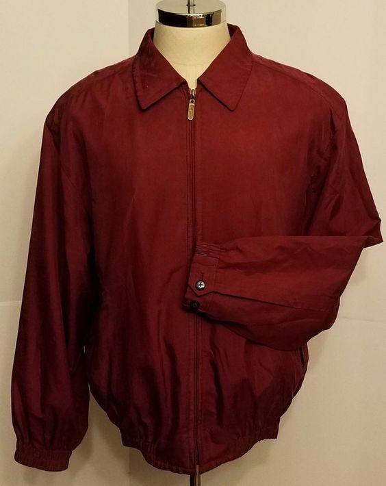 Bobby Jones Mens Silk Jacket Water Resistant Burgundy Front Zip Size M #BobbyJones #BasicLightweightJacket