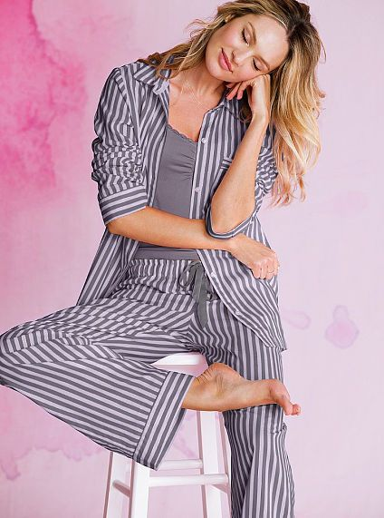 Victoria's Secret The Dreamer Flannel Pajama in Grey/Lilac Metallic Stripe