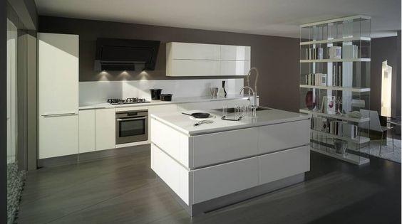 Modna kuchnia w szarościach i beżach Fot Kuchnia z linii Stone - küche mit side by side kühlschrank