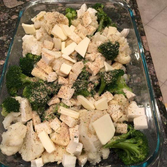 Caroline Manzo - Making one of Vito's favorite dishes - broccoli & cauliflower baked w mozzarella, breadcrumbs, salt, pepper, & butter.