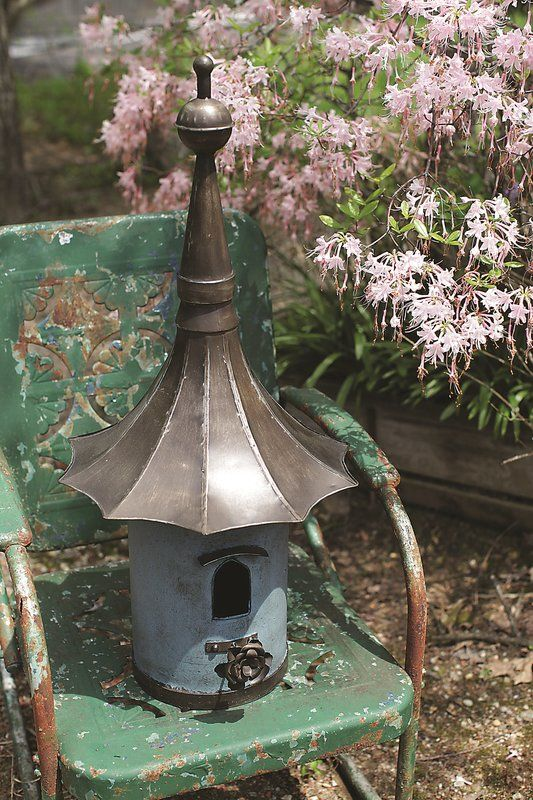 2-In-1 Copper Finish Birdhouse Yard Lawn Art Garden Outdoor Decor in 3 Styles