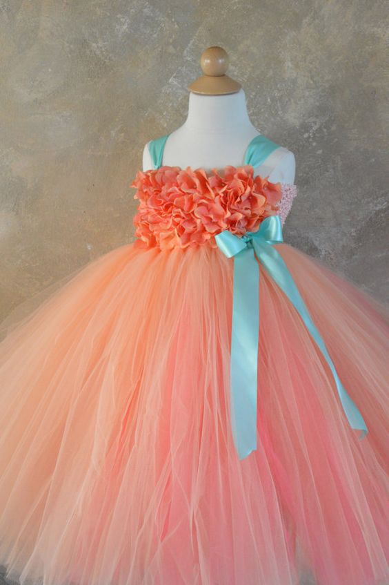 Peach Coral and Aqua hydrangea flower girl by TutuSweetBoutiqueINC, $60.00