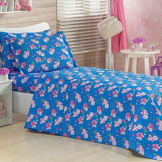 Colcha Infantil Estampada Abelhinhas Azul + Porta Travesseiro