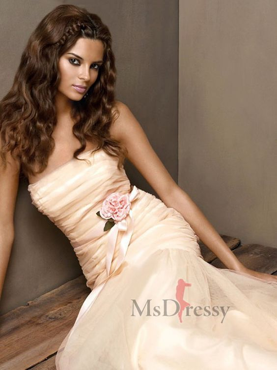 Trumpet/Mermaid Strapless Floor-length Tulle Popular Prom Dress with Hand-Made Flower    http://www.msdressy.com/trumpet-mermaid-strapless-floor-length-tulle-popular-prom-dress-with-hand-made-flower-p-2631.html