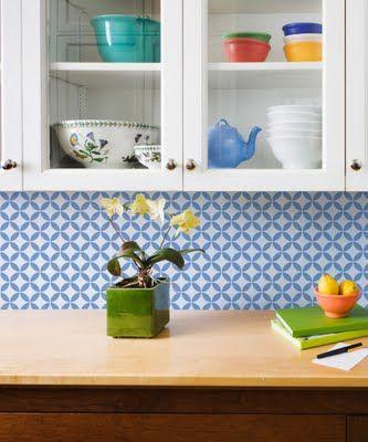 stencil backsplash. great idea for low budget kitchen.