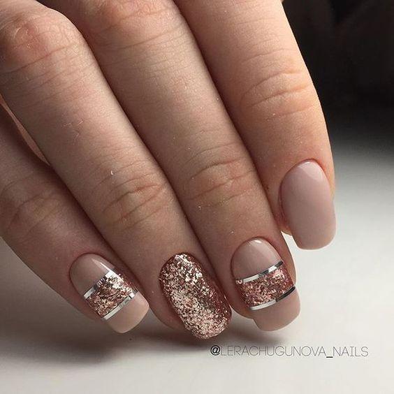 Идеи маникюра в трендовом цвете Golden Copper : Золото на ваших ногтях | Новости моды