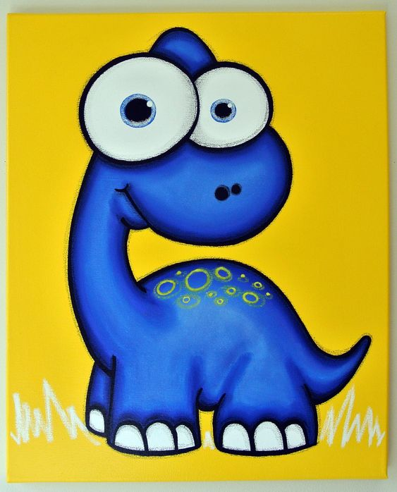 Blue dinosaur 16 x 20 original painting dinosaur art for Dinosaur pictures for kids room