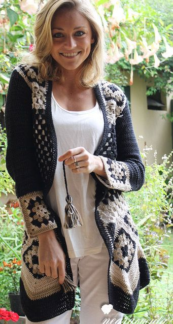 Granny square jacket. Just the picture - to enjoy. Unfortunately, no pattern: