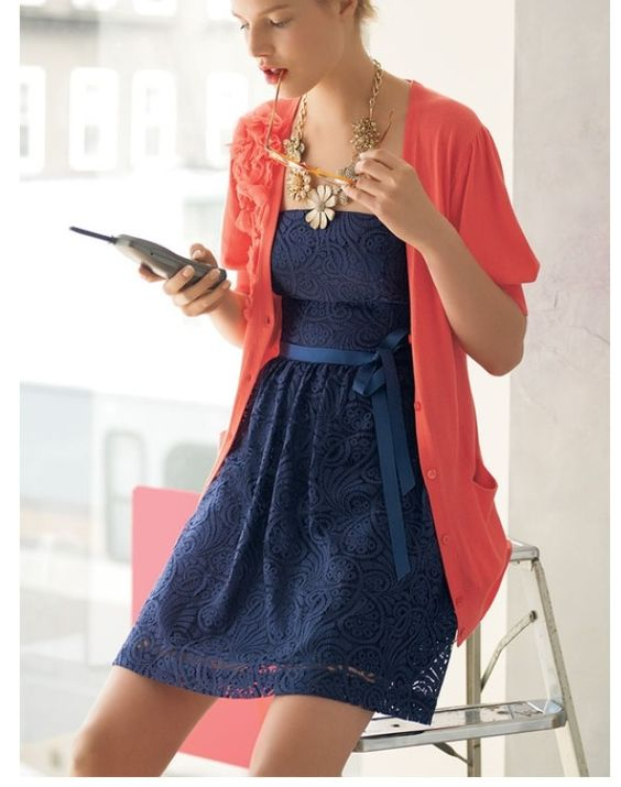Blue dress 3 4 sleeve red cardigan – Woman dress magazine