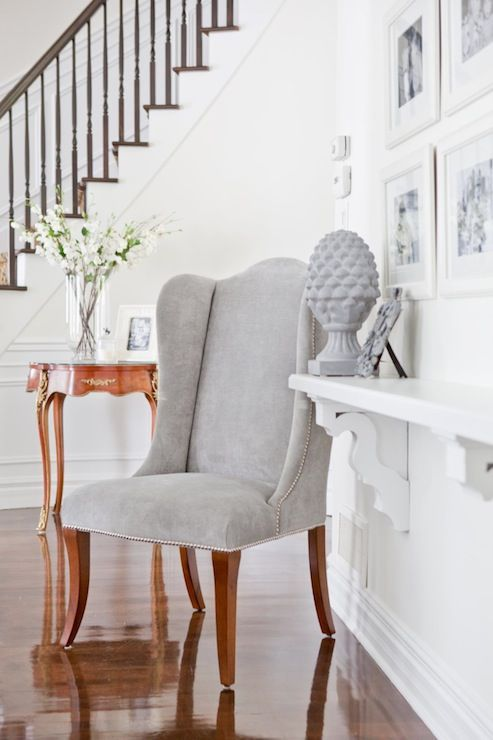 Pin By Patrice Campbell On For The Home Hallway Seating Decor Velvet Wingback Chair