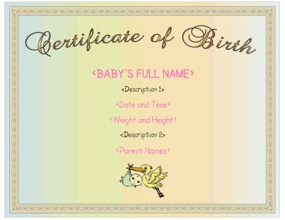 A birth certificate template for girls with a pink color scheme – Baby Birth Certificate Template