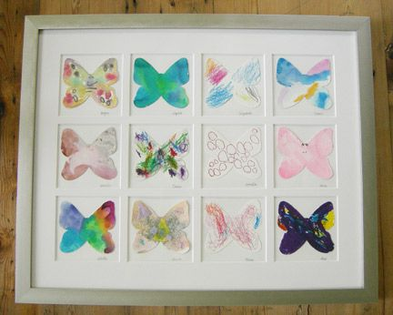 One of our favorite teacher gifts: Collect a hand-colored butterfly from each child and frame.