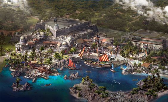 Treasure Cove, the home of the upcoming Pirates of the Caribbean ride at Shanghai Disneyland. Image courtesy Disney.