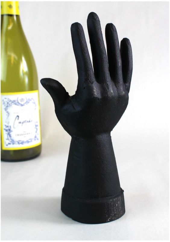 Cast Iron Ring Jewelry Holder in Shape of a Hand Painted Black Spray Paint to change color !