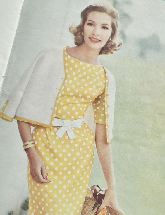 Yellow white polka dot sheath dress bow belt matching sweater set color photo print ad model vintage fashion style late 50s early 60s classic mid century modern MCM looks .