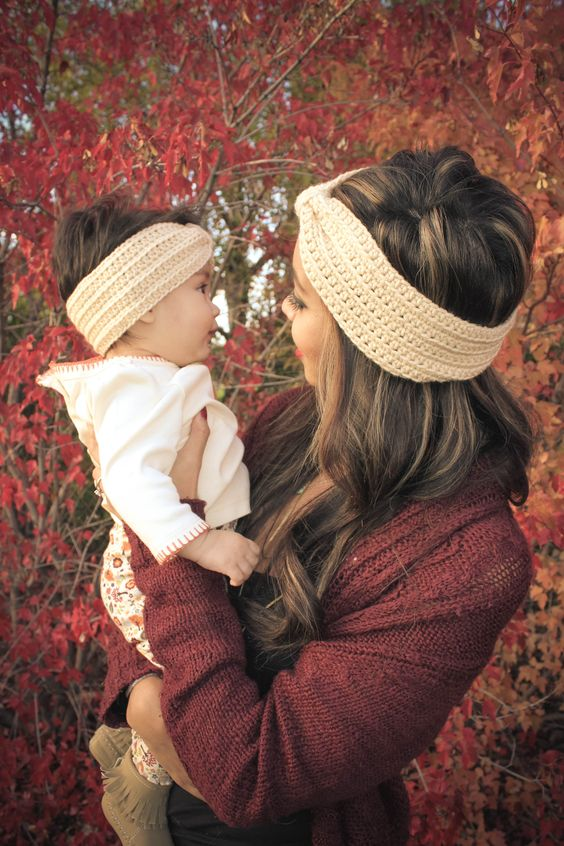 fall photoshoot mother/daughter matching headwrap:
