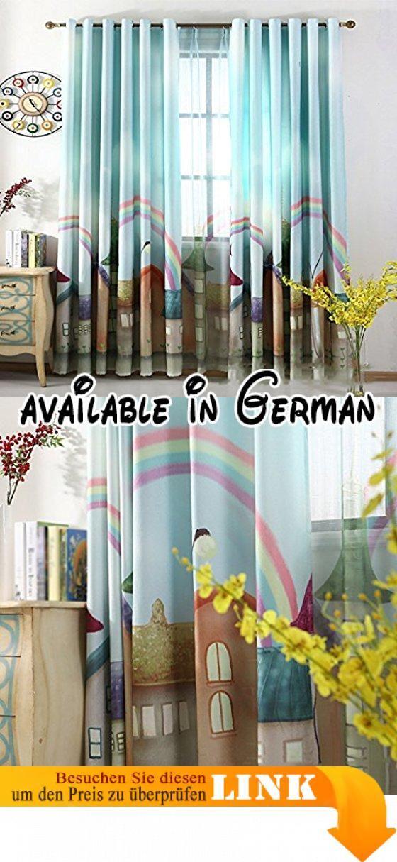 Met Love Printing Cartoon Rainbow Boden Vorhänge Schlafzimmer - vorhänge für schlafzimmer