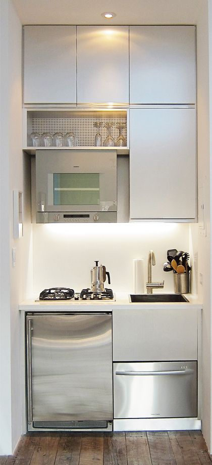 Tiny kitchen, fits bar fridge, dish drawer, oven, cooktop and sink - butlers pantry idea.