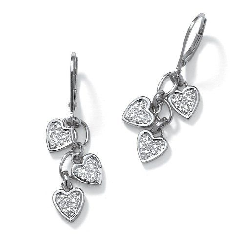 PalmBeach Jewelry Diamond Accent Platinum Over Sterling Silver Dangling Heart-Shaped Earrings Palm Beach Jewelry. $54.99. Save 57%!