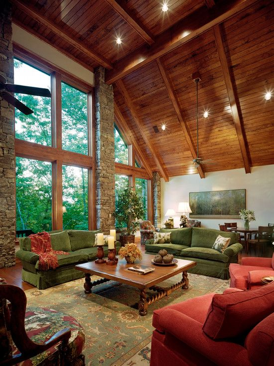 Decorating, Lake House Great Room Decor With Cool Lake House Furniture Like  Green And Red Sofa Set And Teak Wood Coffee Table And Bedboard Ceiling U2026