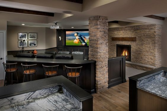 Columns Tvs And Stone Fireplaces On Pinterest