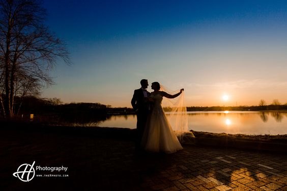 My favorite place for wedding photos in sunset! Independence Grove has the best sunset view reflected over the lake. Tony and Amanda's wedding. Photography: Doru Halip