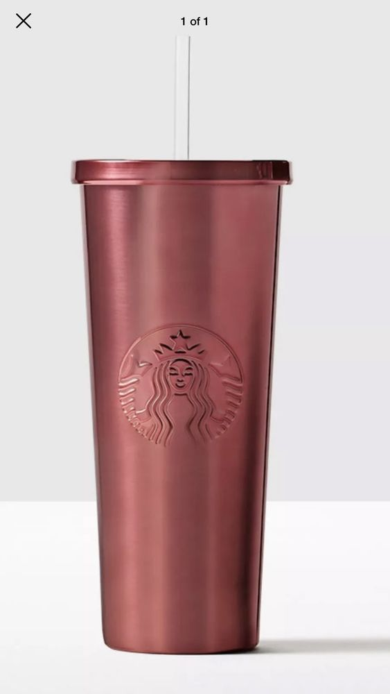 NEW STARBUCKS SIREN LOGO STAINLESS STEEL TUMBLER WITH STAINLESS STEEL STRAW