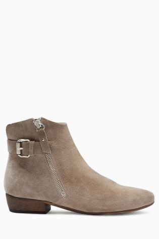 Buy Mink Suede Leather Buckle Ankle Boots from the Next UK online