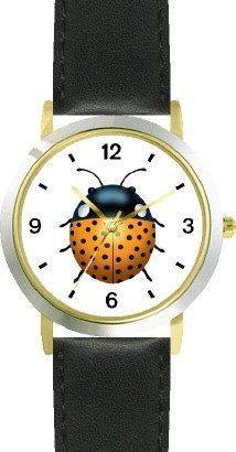 Lady Bug or Lady Bird No.2 - Ladybug - JP Animal - WATCHBUDDY® DELUXE TWO-TONE THEME WATCH - Arabic Numbers - Black Leather Strap-Size-Children's Size-Small ( Boy's Size & Girl's Size ) WatchBuddy. $49.95