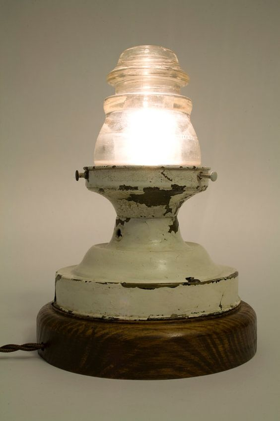 vintage telephone insulator used as glass globe for. Black Bedroom Furniture Sets. Home Design Ideas